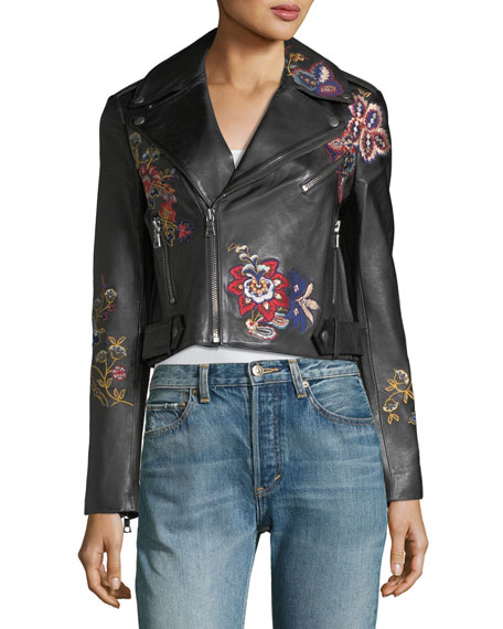 Cody Embroidered Cropped Leather Jacket