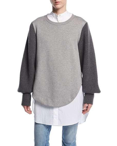Burberry Alcobaca Sweatshirt w/ Rib-Knit Sleeves