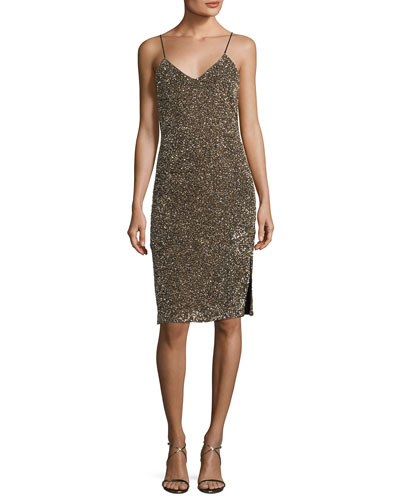 Stila Embellished Sequin Sleeveless Fitted Cocktail Dress