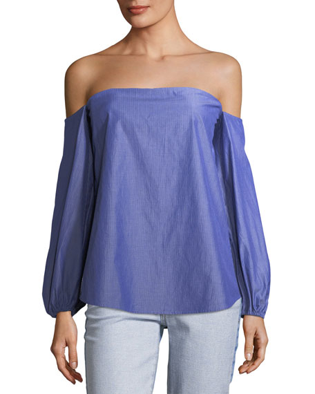 Laureema Off-the-Shoulder Striped Poplin Top