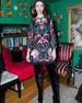 Eleonora Embellished Poet-Sleeve Floral Cocktail Dress