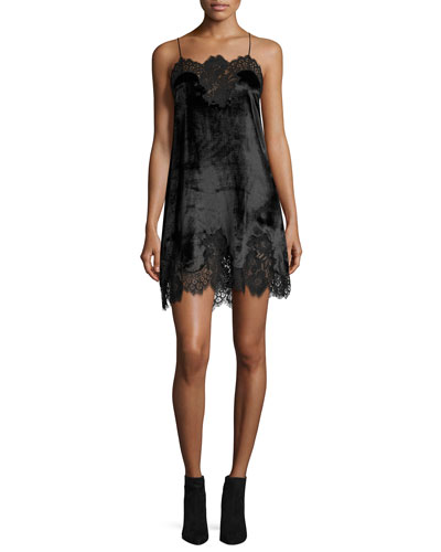 Charice Short A-line Lace/Velvet Cocktail Slip Dress