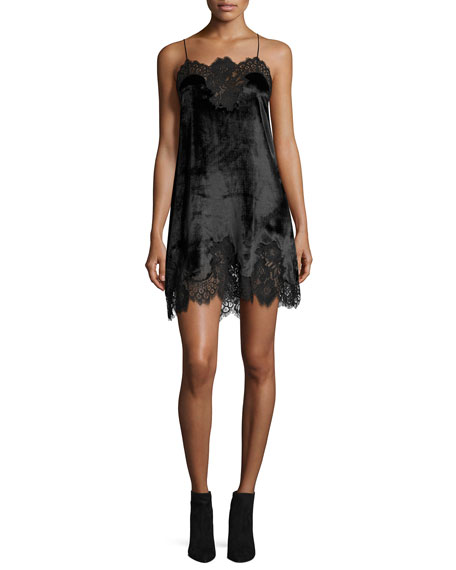 Alice + Olivia Charice Short A-line Lace/Velvet Cocktail