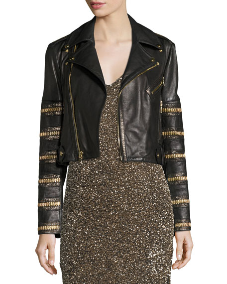 Alice + Olivia Cody Embellished Cropped Leather Jacket