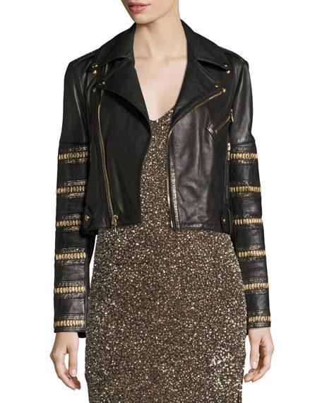 Cody Embellished Cropped Leather Jacket