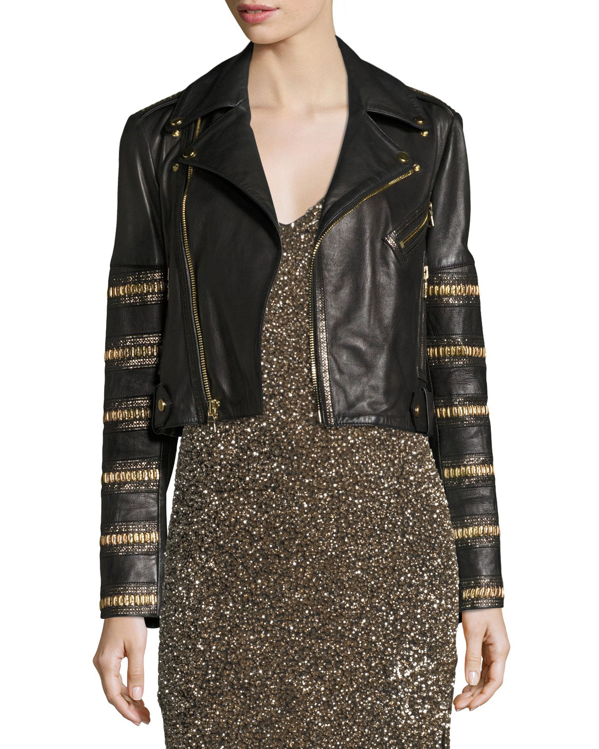 Alice + Olivia Cody Embellished Cropped Leather Jacket ...