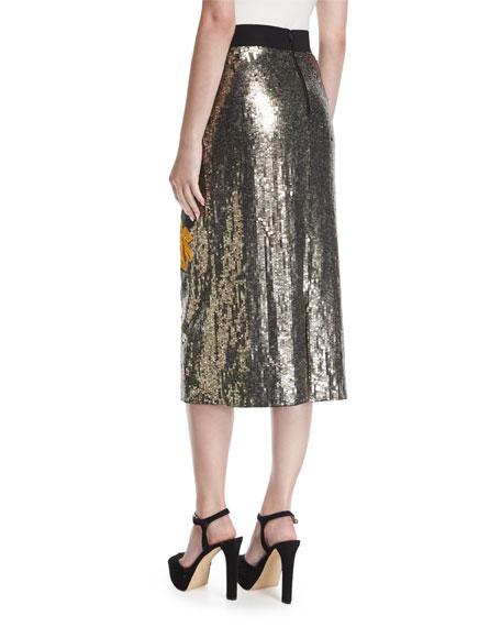 Ella Embellished Sequin Straight Midi Skirt