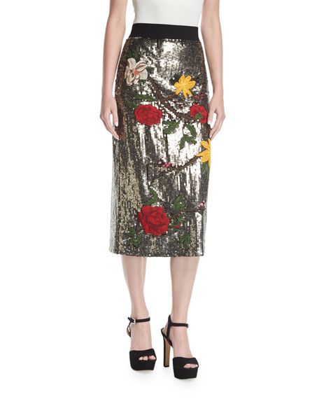 Alice + Olivia Ella Embellished Sequin Straight Midi