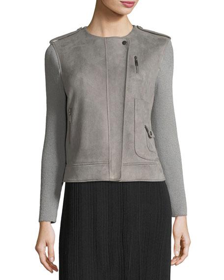 Faux-Suede Moto Jacket w/ Contrast Sleeves
