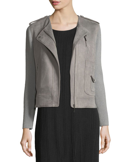 Misook Faux-Suede Moto Jacket w/ Contrast Sleeves and