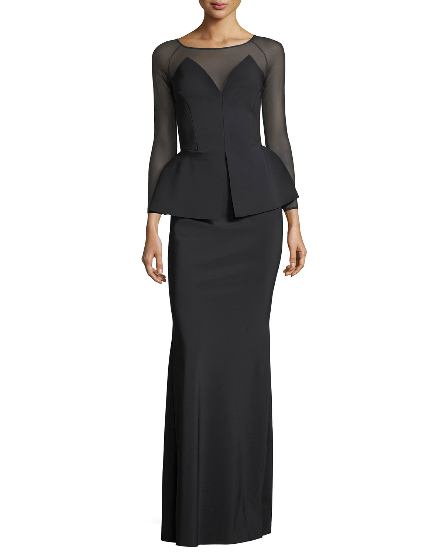 Chiara Boni La Petite Robe Afef Illusion Long-Sleeve Peplum Evening ...