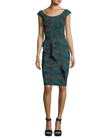 Phillida Scoop-Neck Printed Sheath Cocktail Dress