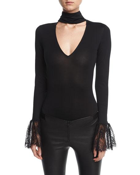 Elara Choker-Collar Lace-Cuffs Bodysuit