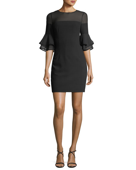 Aidan by Aidan Mattox Flounce-Sleeves Crepe Chiffon Sheath