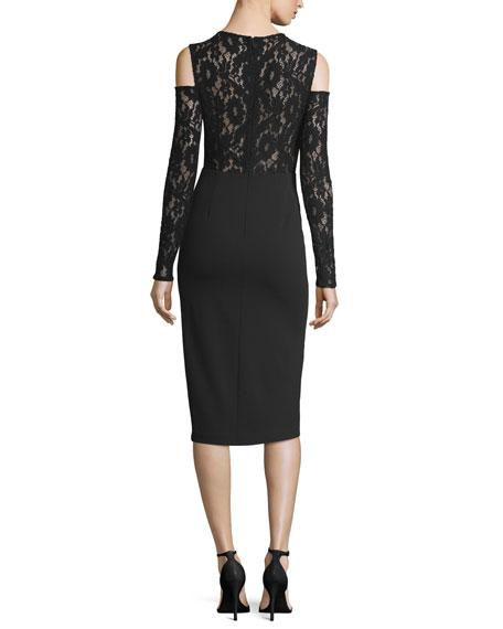 Crepe Lace Cold-Shoulder Long-Sleeve Cocktail Dress