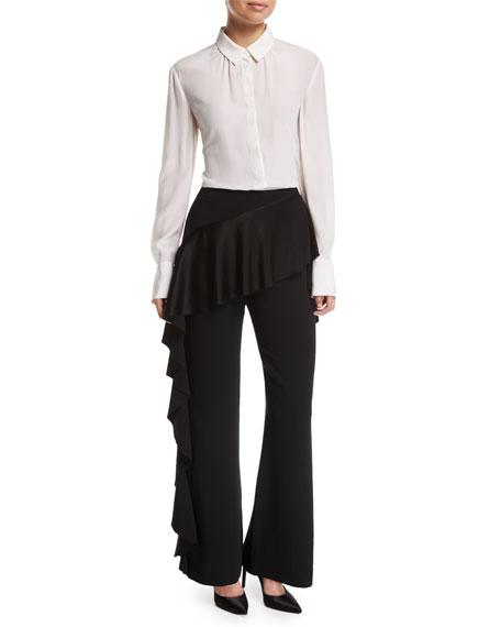 Vykan High-Rise Wide-Leg Pants w/ Ruffled Trim
