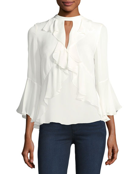 cinq a sept Thea High-Neck Ruffled Silk Top