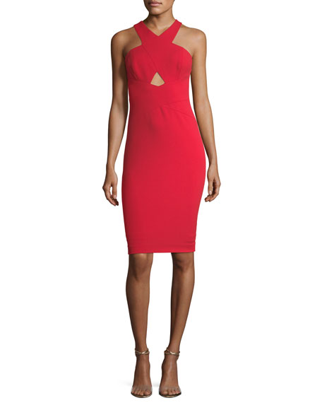 Crossover Halter Sleeveless Crepe Cocktail Dress