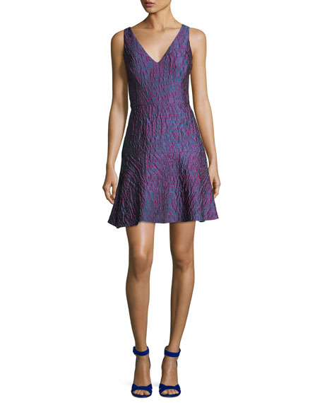 Aidan by Aidan Mattox V-Neck Sleeveless Jacquard Cocktail