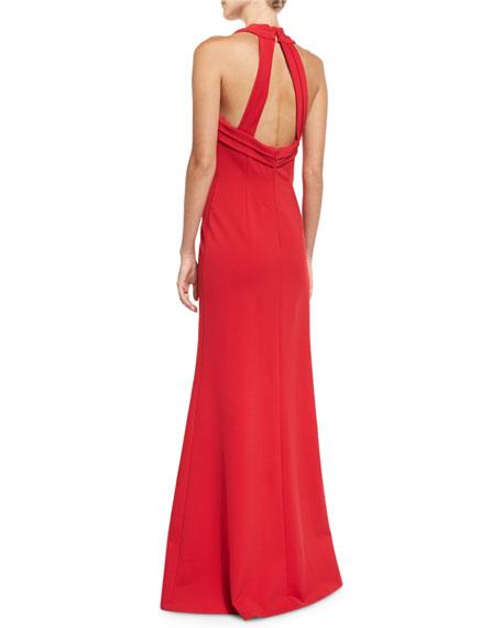 Deep V-Neck Sleeveless Mesh-Insert Halter Evening Gown