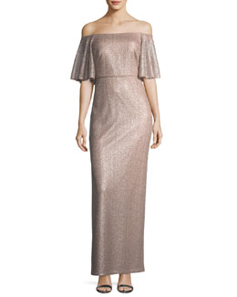 Off-the-Shoulder Short-Sleeve Metallic Evening Gown