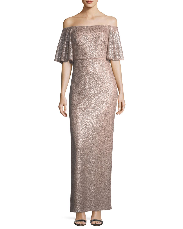 Aidan Mattox Off The Shoulder Short Sleeve Metallic Evening Gown