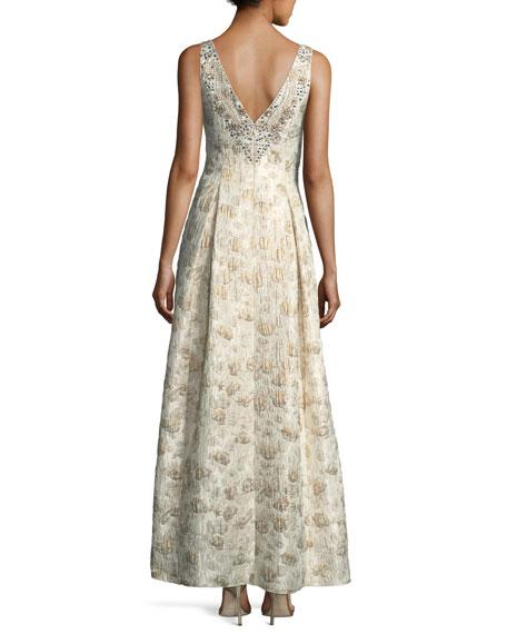 Sweetheart Sleeveless Jacquard Beaded Evening Gown