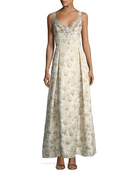 Aidan Mattox Sweetheart Sleeveless Jacquard Beaded Evening Gown