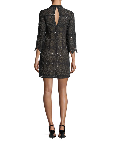 High-Neck Long-Sleeve Beaded Lace Cocktail Dress