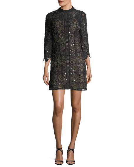 Aidan Mattox High-Neck Long-Sleeve Beaded Lace Cocktail Dress