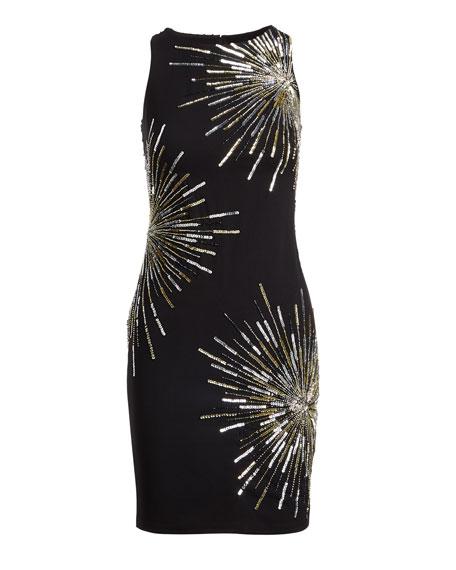 Starburst Round-Neck Sleeveless Sheath Cocktail Dress