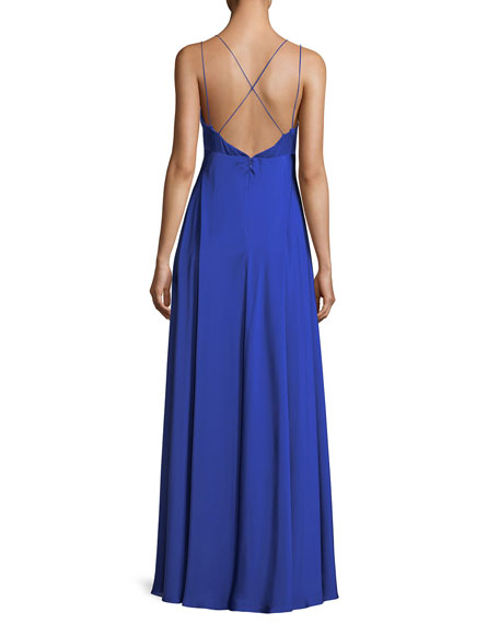Deep V-Neck Double-Strap Satin Evening Gown