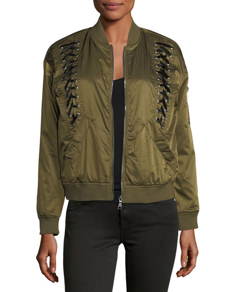 Velvet-Laced Bomber Jacket