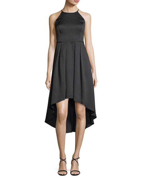 Aidan Mattox High-Low Pleated Satin Cocktail Dress