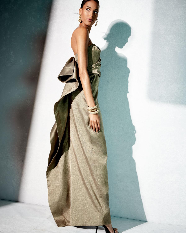 Halston Heritage Strapless Metallic Evening Gown w/ Back Structured ...