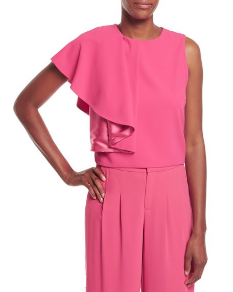 Marin Side-Ruffle Crepe Cropped Top