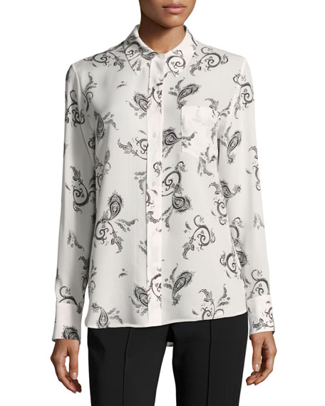 Scott Button-Front Long-Sleeve Silk Blouse