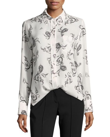 A.L.C. Scott Button-Front Long-Sleeve Silk Blouse