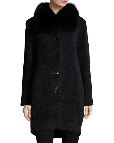 Fur-Collar Button-Front Coat