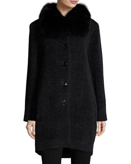Sofia Cashmere Fur-Collar Button-Front Coat