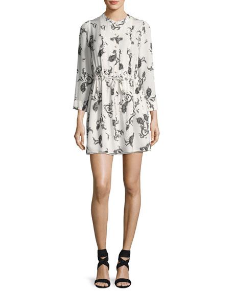 Hazel Button-Front Paisley Silk Dress