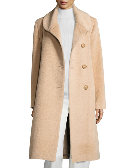 Round-Collar Button-Front Midi Alpaca Coat