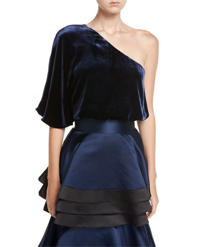 Craven One-Shoulder Velvet Top