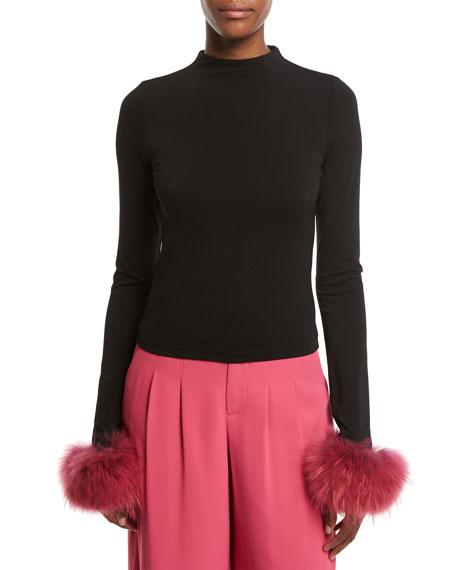 Where To Buy Fur Rug In Lagos: Alice + Olivia Haylen Mock-Neck Long-Sleeve Top W/ Fur