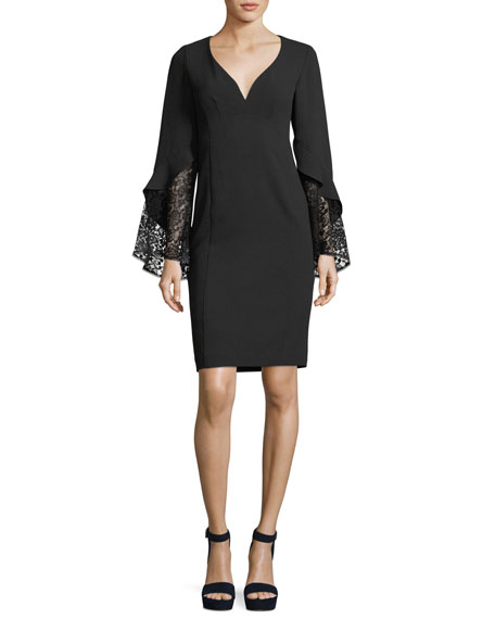 Nanette Lepore Betty V-Neck Lace Sleeve Sheath Cocktail