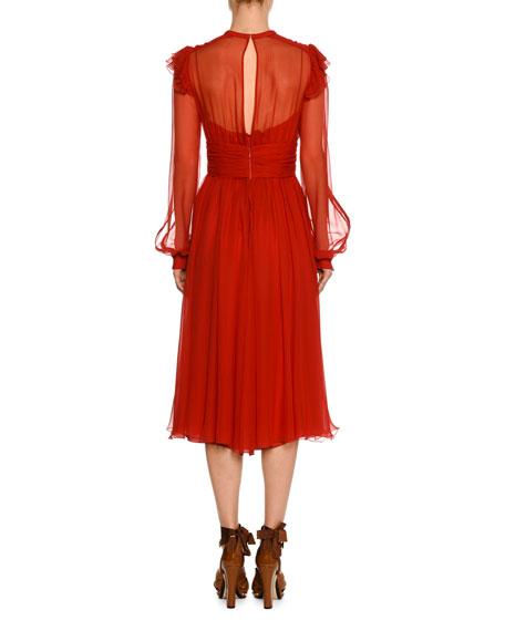 High-Neck Long-Sleeve Ruffled Midi Cocktail Dress