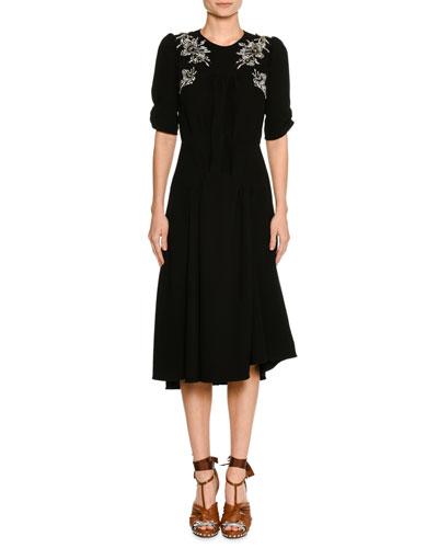 Embellished Short-Sleeve A-Line Midi Cocktail Dress