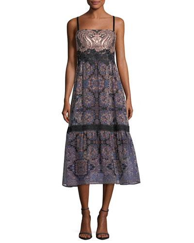 Lady Jane Mixed-Media Sleeveless Midi Cocktail Dress