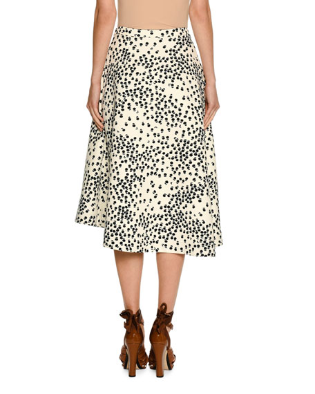Printed Embellished Midi Swing Skirt