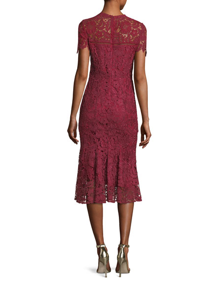 Park High-Neck Lace Trumpet Midi Cocktail Dress